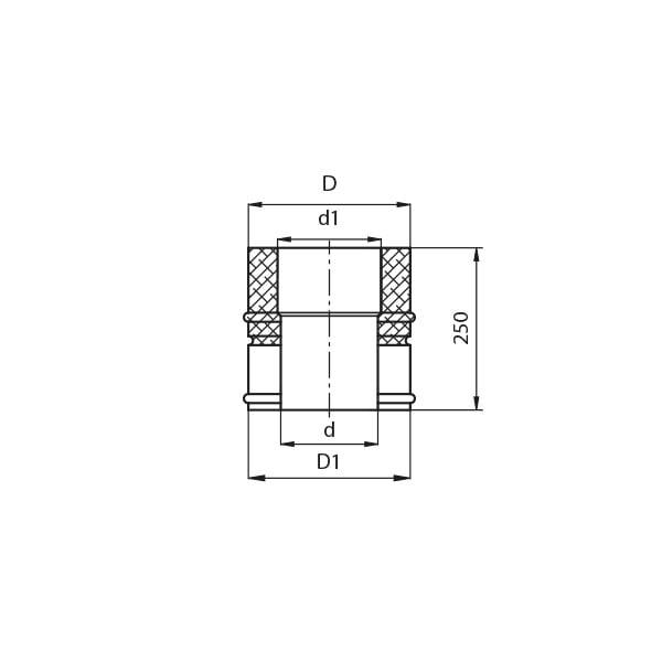 kominy kf rura prosta 0.25m rysunek