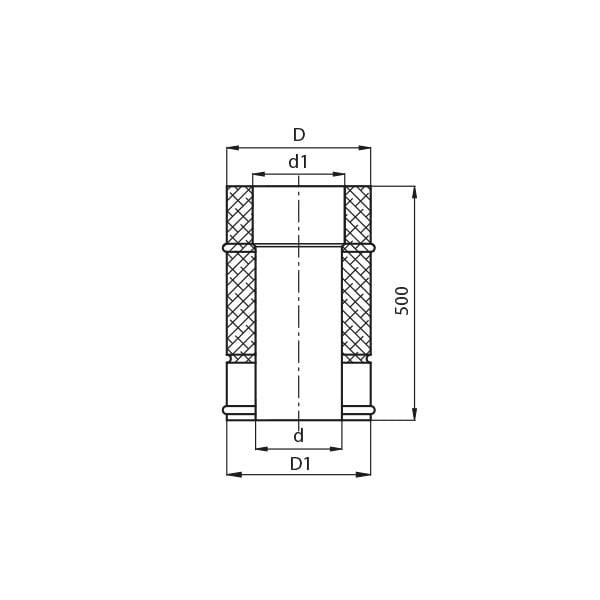 kominy kf rura prosta 0.5m rysunek